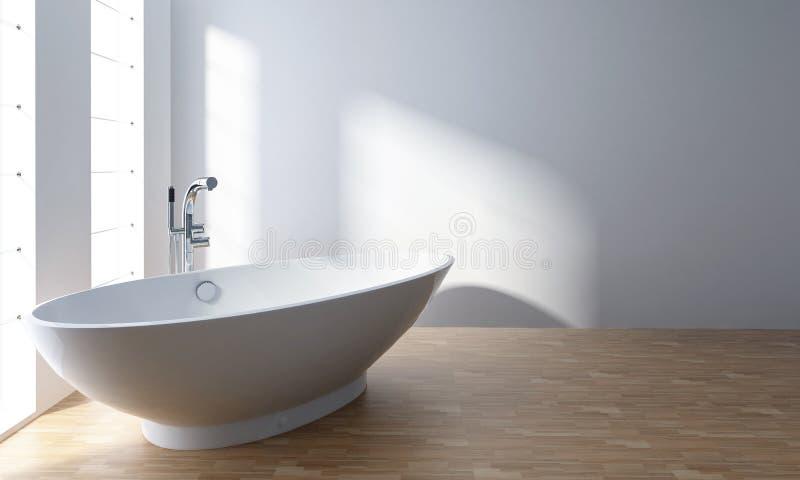 Baignoire blanche dans la salle de bains minimaliste illustration stock