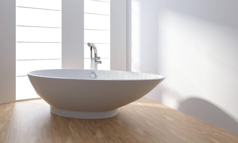 Baignoire blanche de porcelaine dans la salle de bains minimaliste illustration libre de droits