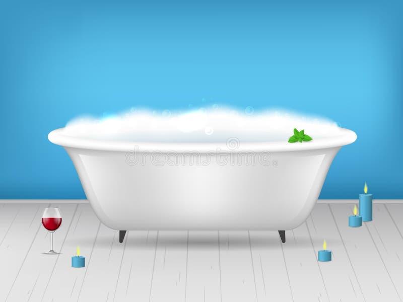 Baignoire détaillée réaliste de la salle de bains 3d avec l'affiche de carte de mousse Vecteur illustration stock