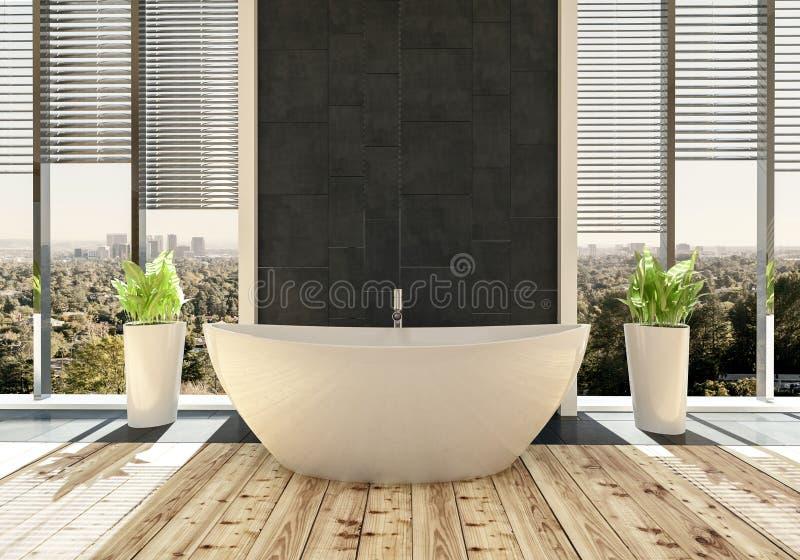 Baignoire dans la salle de bains lumineuse moderne illustration de vecteur