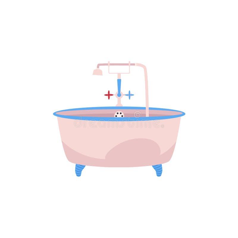 Baignoire de clawfoot de vue de côté avec le robinet et la douche illustration stock