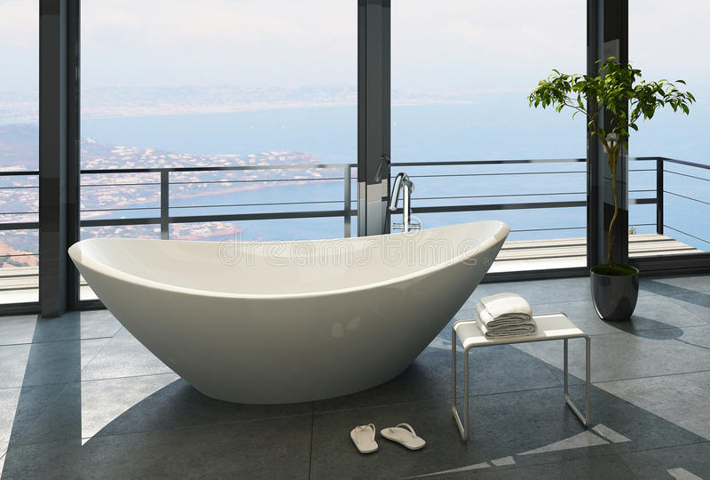 Baignoire de luxe chère contre la fenêtre panoramique avec la vue de paysage marin illustration de vecteur