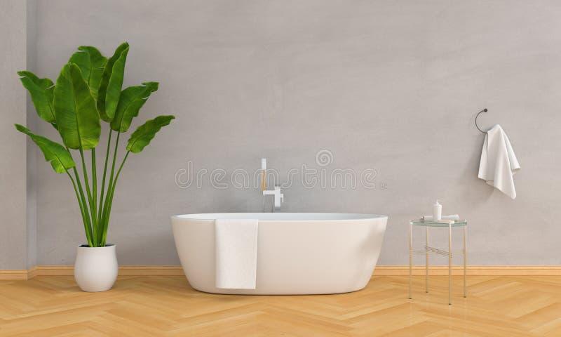 Baignoire de salle de bains et usine intérieures, style de grenier, rendu 3D illustration stock