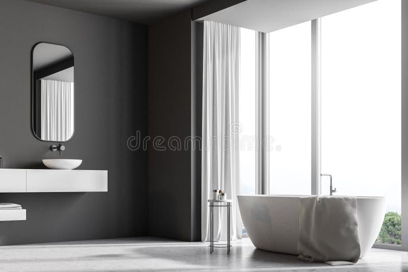 Baignoire de salle de bains grise et évier intérieurs et blancs illustration stock
