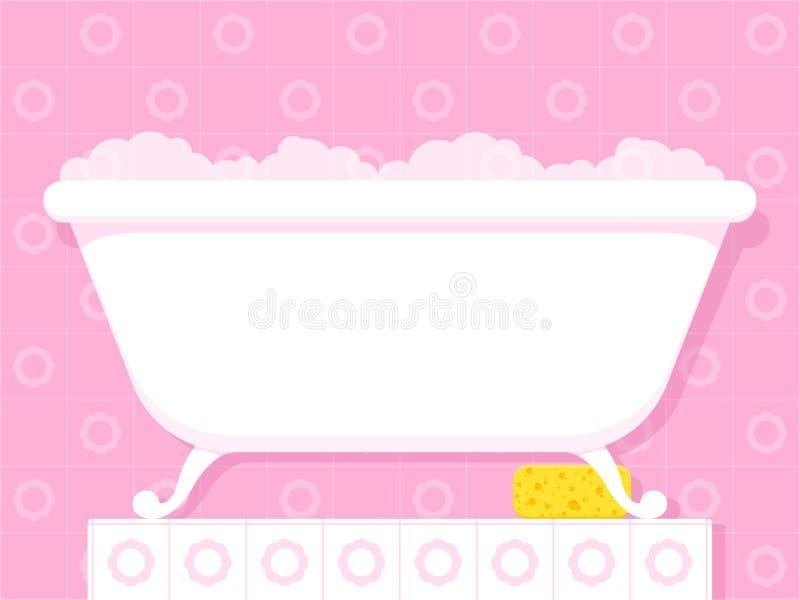 baignoire de style de vintage avec les bulles savonneuses illustration de vecteur illustration. Black Bedroom Furniture Sets. Home Design Ideas