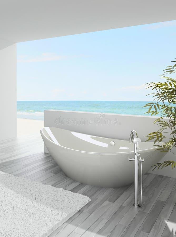 baignoire moderne avec la vue de paysage marin illustration stock illustration du personne. Black Bedroom Furniture Sets. Home Design Ideas