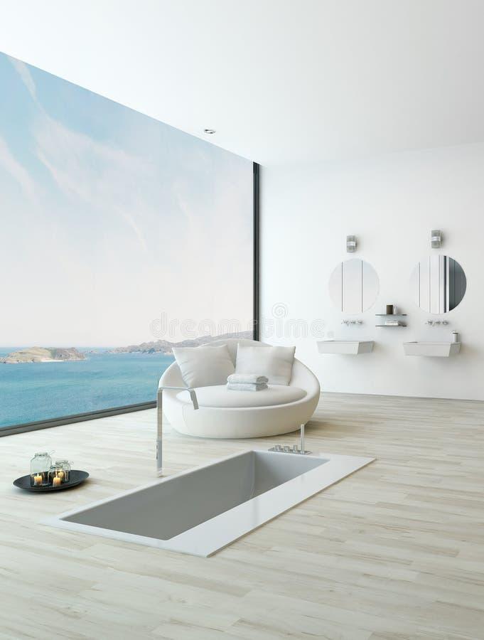 Baignoire moderne de plancher contre la fenêtre énorme avec la vue de paysage marin illustration stock
