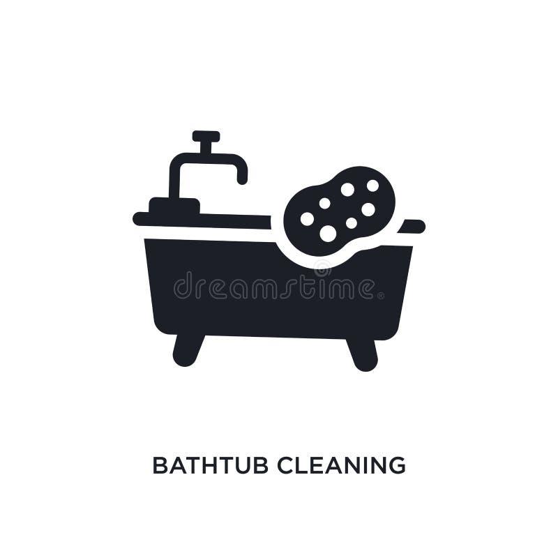 baignoire nettoyant l'icône d'isolement illustration simple d'élément des icônes de nettoyage de concept baignoire nettoyant le s photographie stock libre de droits