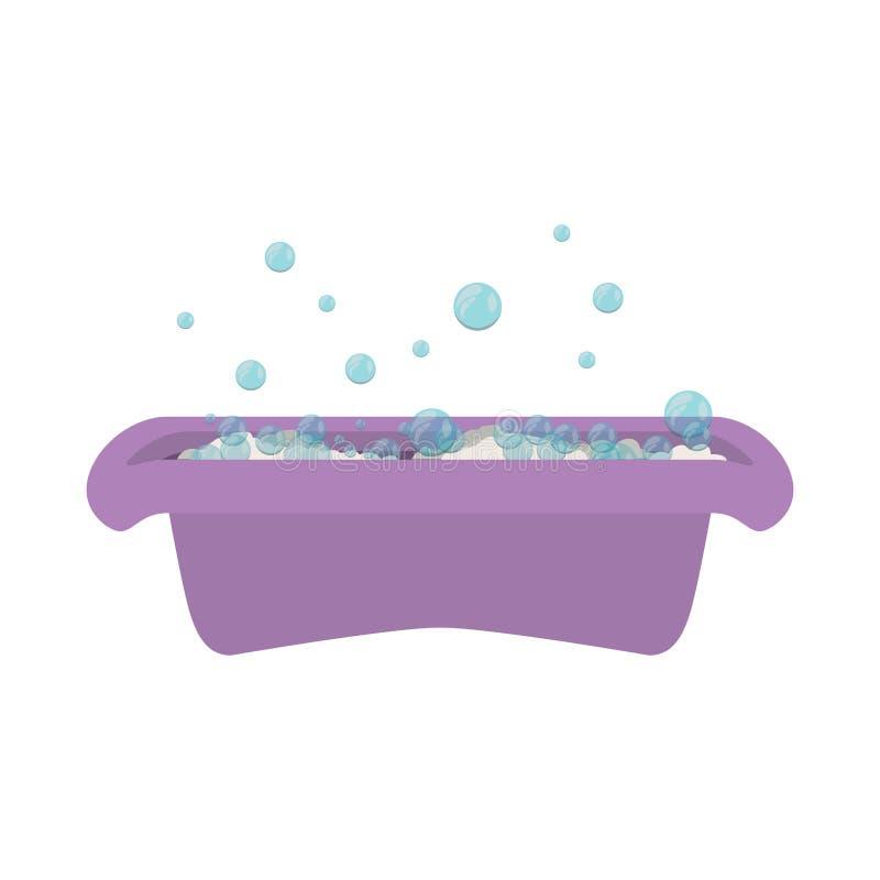Baignoire pourpre de babys avec la bulle de savon illustration stock