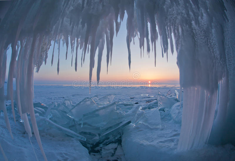 Baikal. Awesome krasiay landscape.Lake Baikal in winter.Flowering.Frosty morning.A frozen lake.The majestic beauty of the largest lake in the world.Ice of Lake royalty free stock photography