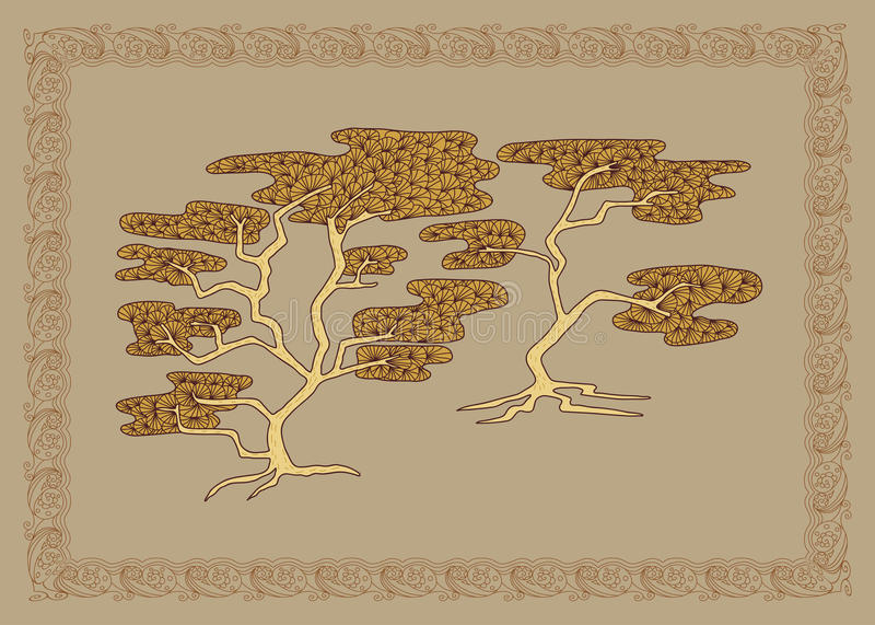 Baikal cedar illustration in doodle style. Vector monochrome sketches with geometric pattern brown beige gentle tones. vector illustration