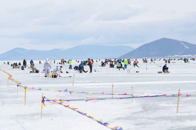 Baikal che pesca 2012 immagine stock