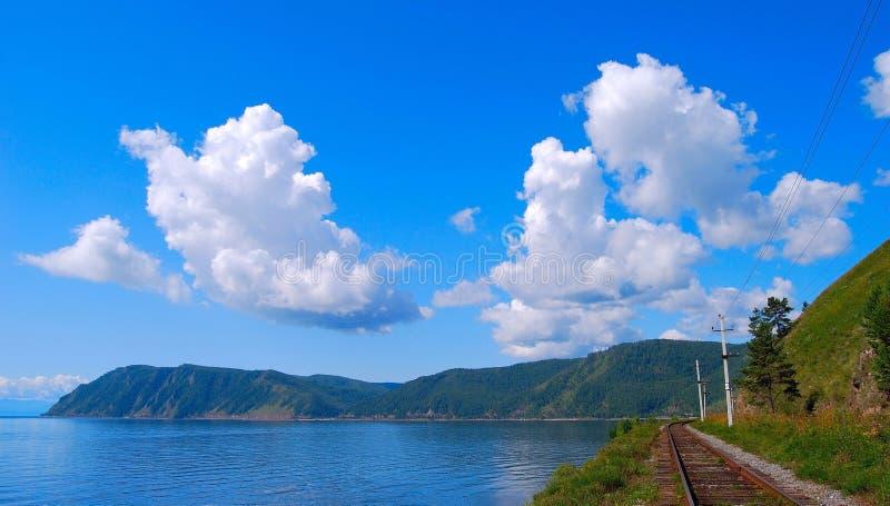 baikal circum linia kolejowa fotografia royalty free