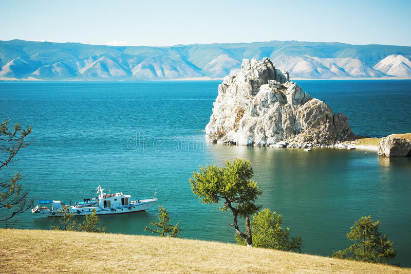 baikal góra burhan jeziorna zdjęcie royalty free