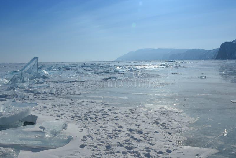 Baikal i vinter Baikal is och natur Februari 2018 arkivfoto