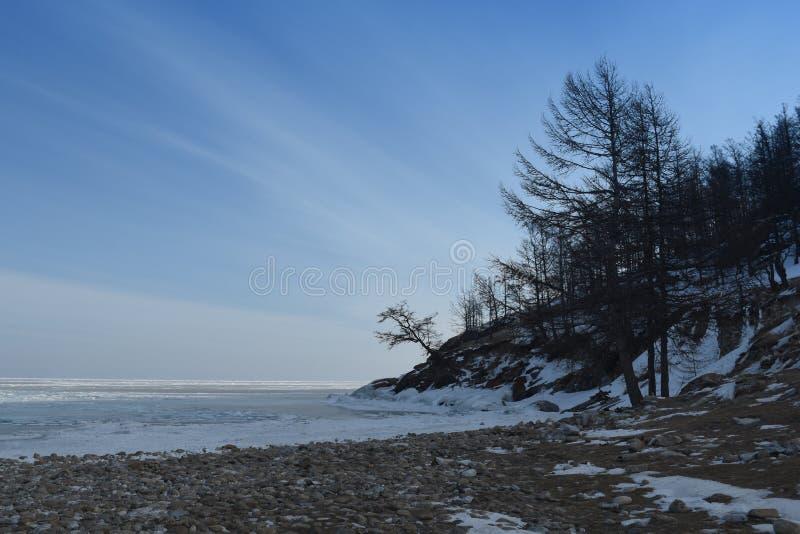 Baikal i vinter Baikal is och natur Februari 2018 fotografering för bildbyråer