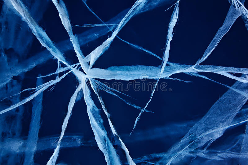 Baikal ice. View of ice with cracks on baikal lake ice royalty free stock photos