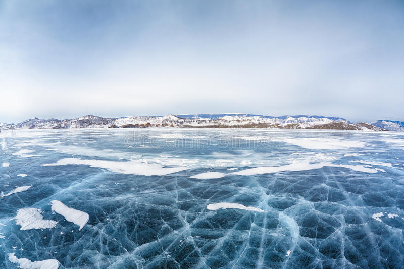 Baikal ice in winter. Frozen russian siberian lake Baikal in winter stock images