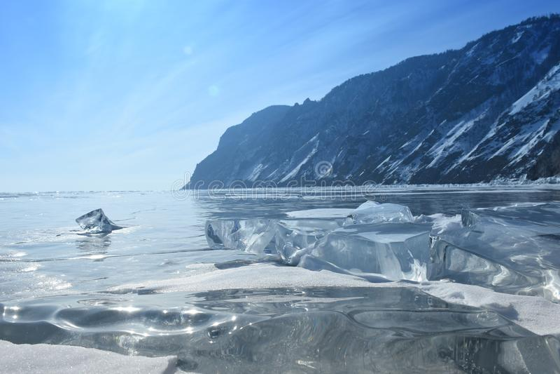 Baikal im Winter Baikal-Eis und -natur Februar 2018 lizenzfreies stockfoto