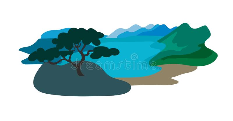 Baikal lake vector illustration. Travel to Russia concept art cartoon style. Isolated on a white background vector illustration