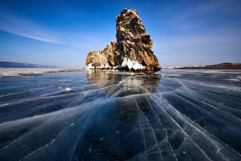 Baikal Lake in winter. With beautiful ice and rocks. The best time to visit - March royalty free stock photos