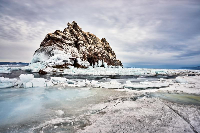 Baikal Lake in winter. With beautiful ice and rocks. The best time to visit - March stock photo