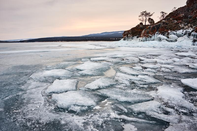 Baikal Lake in winter. With beautiful ice and rocks. The best time to visit - March stock images