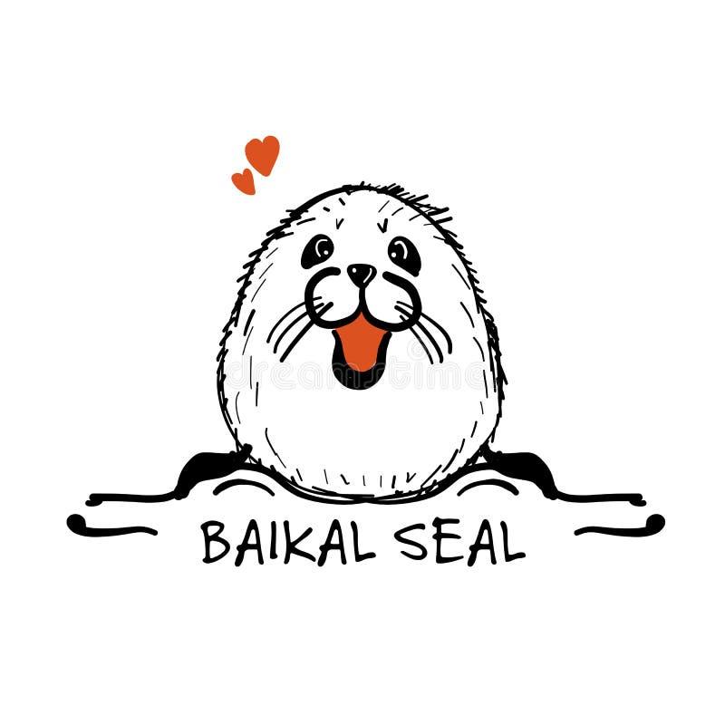 Baikal seal, sketch for your design. Vector illustration stock illustration