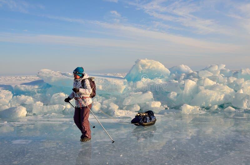 Baikal sjö, Ryssland, mars, 01, 2017 Handelsresande med enfriktion som framme går av iskanterna nära byn av bolsjeviken Kot royaltyfria bilder