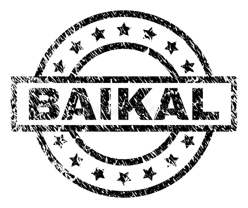 Scratched Textured BAIKAL Stamp Seal. BAIKAL stamp seal watermark with distress style. Designed with rectangle, circles and stars. Black vector rubber print of vector illustration