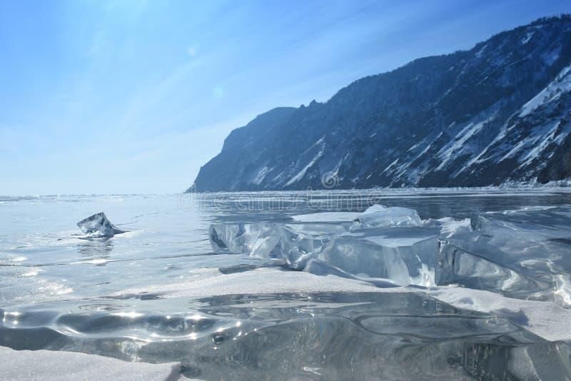 Baikal w zimie Baikal natura i lód Luty 2018 zdjęcie royalty free