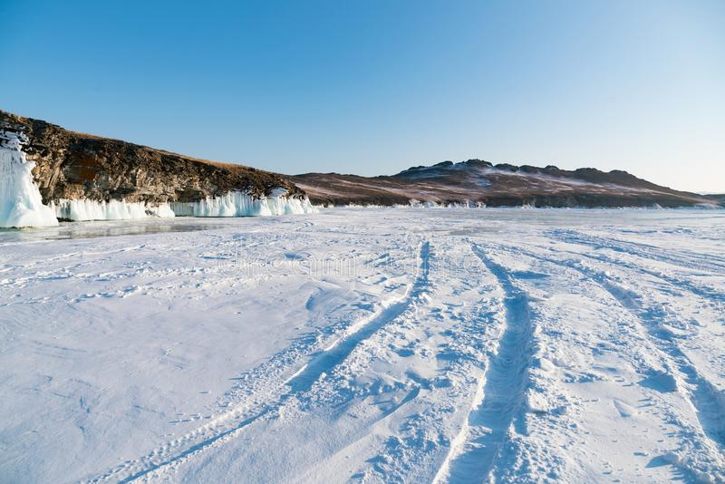 Baikal water lake show snow covered with clear background Russia winter season stock photography