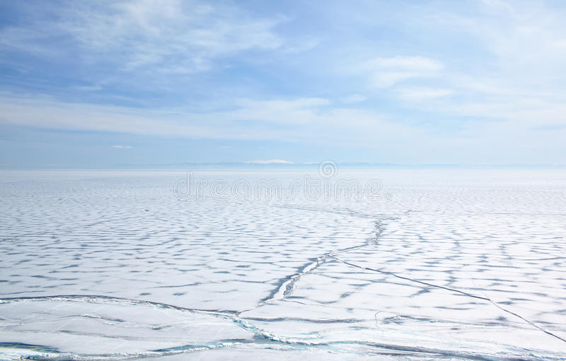 Baikal in winter. Outdoor view of frozen baikal lake in winter royalty free stock photo