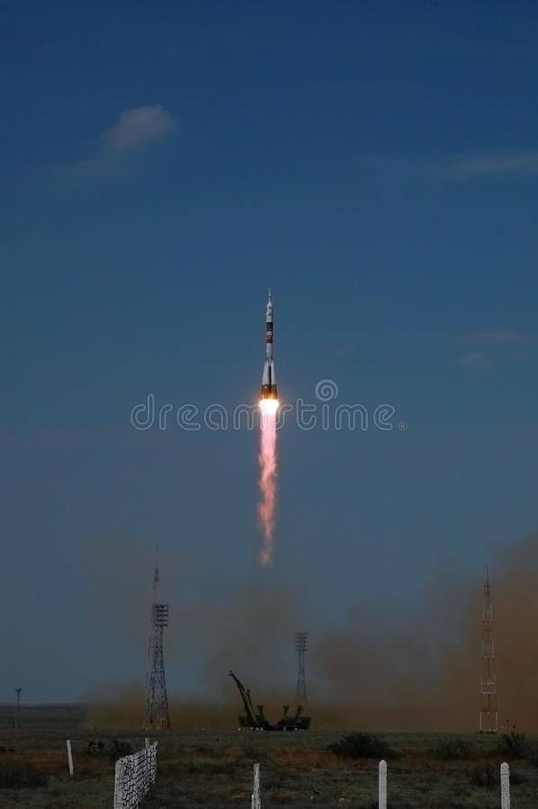baikonur cosmodrome生成soyuz航天器 免版税图库摄影