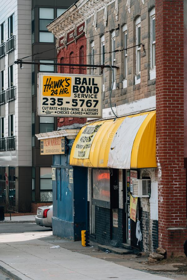 Bail bond service sign in Baltimore, Maryland stock photo