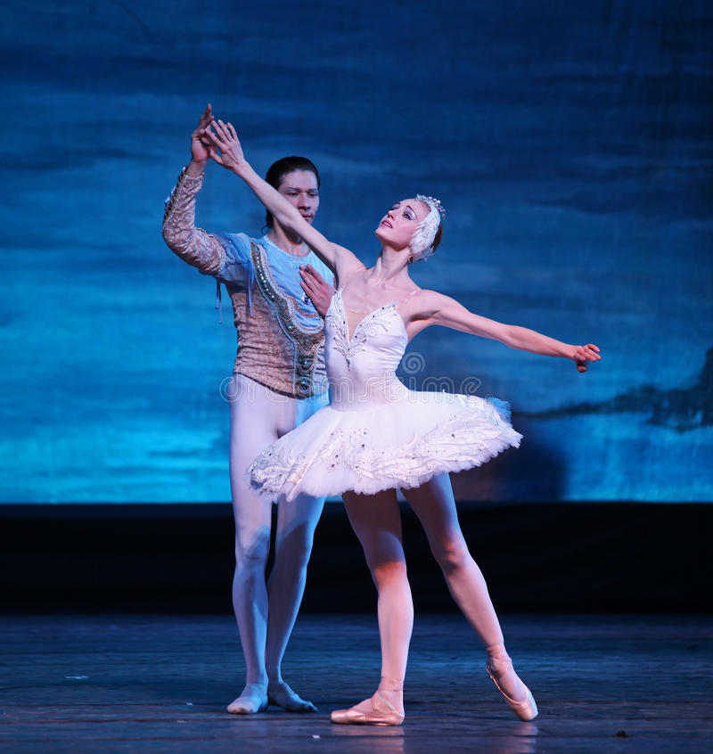 Bailado do lago swan executado pelo bailado de Russo Real fotos de stock royalty free