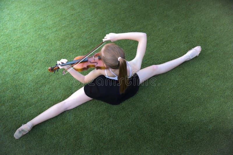 Bailado e violino imagem de stock
