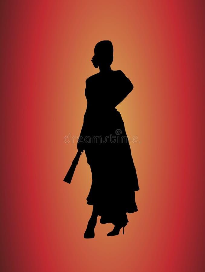 Bailarín 2 del flamenco stock de ilustración