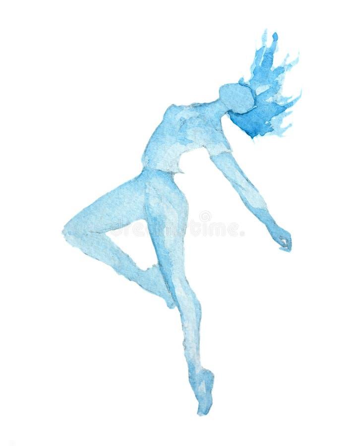 Bailarín aislado de la acuarela ilustración del vector