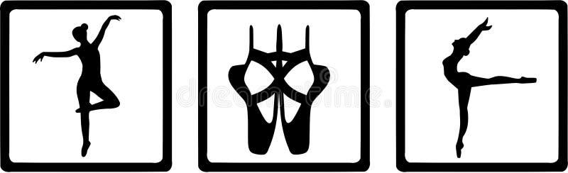 Bailarín Ballerina de los iconos del ballet ilustración del vector
