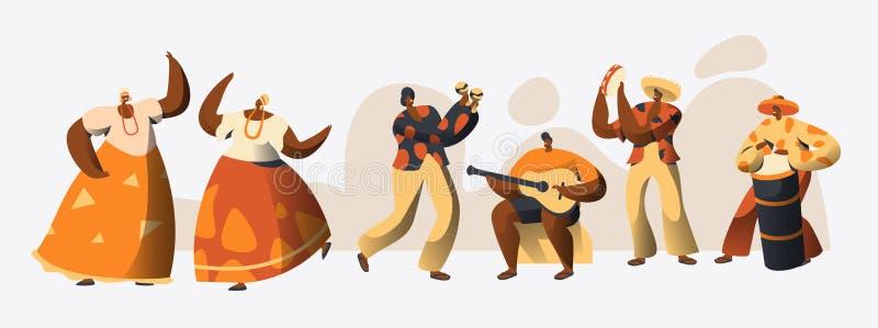 Bailarín brasileño Set del carácter del carnaval Danza de la mujer en el traje tradicional del Brasil en la celebración de la fes libre illustration