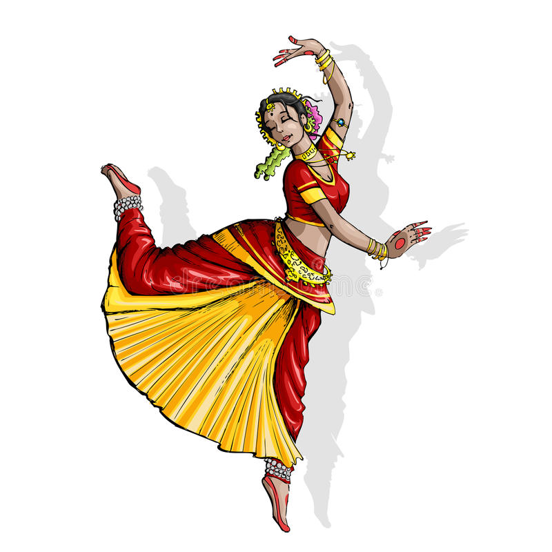 Bailarín clásico indio stock de ilustración