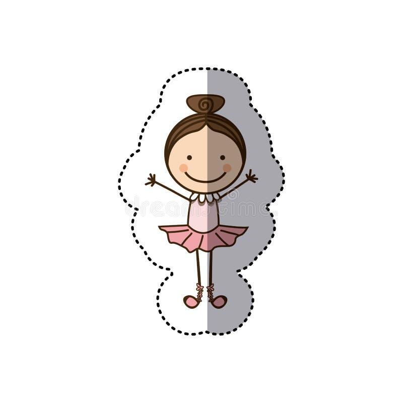 bailarín de ballet colorido de la muchacha de la caricatura de la caricatura de la etiqueta engomada stock de ilustración