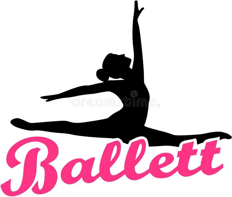 Bailarín de ballet con el ballett retro alemán stock de ilustración