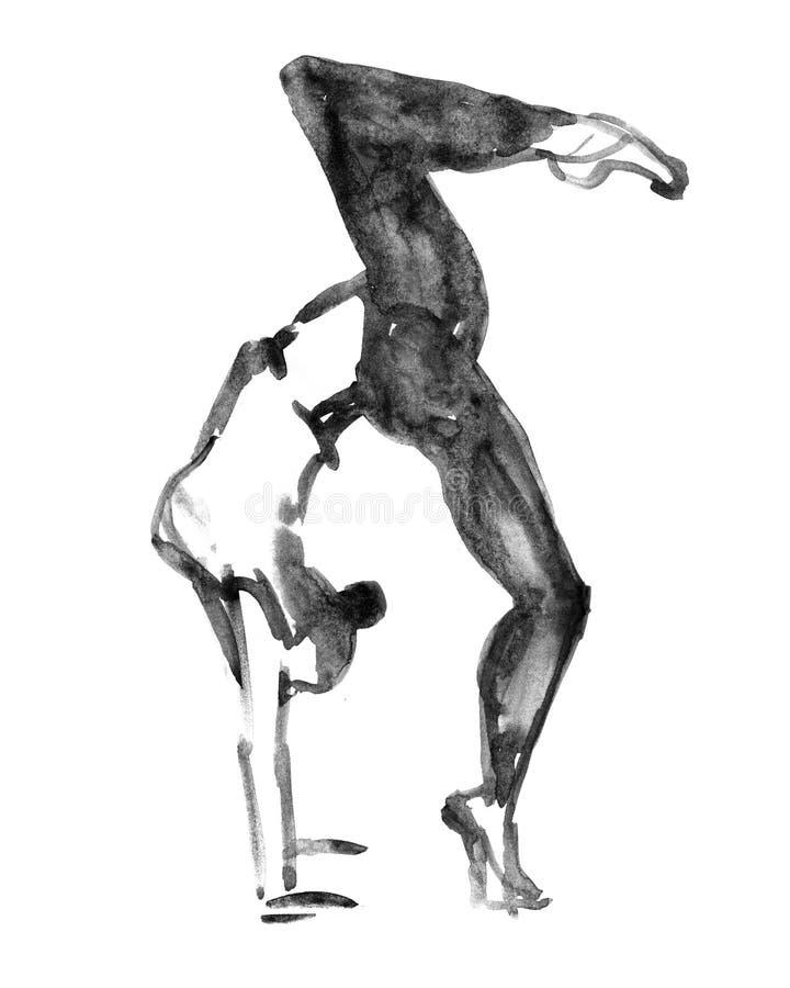 Bailarín de ballet contemporáneo moderno en blanco ilustración del vector