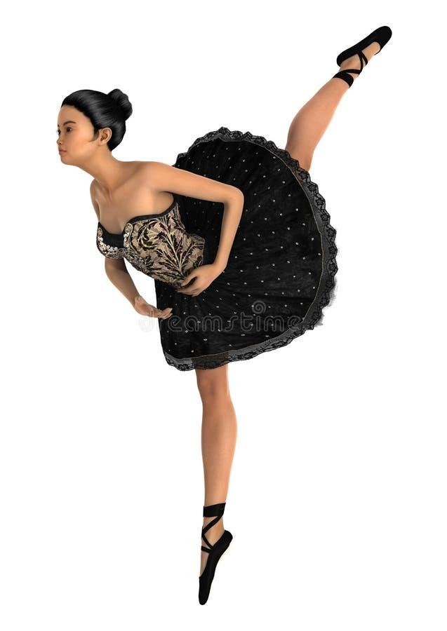 Bailarín de ballet de sexo femenino asiático ilustración del vector