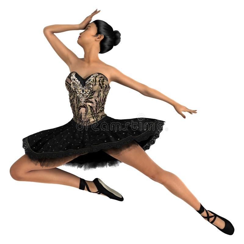 Bailarín de ballet de sexo femenino asiático stock de ilustración