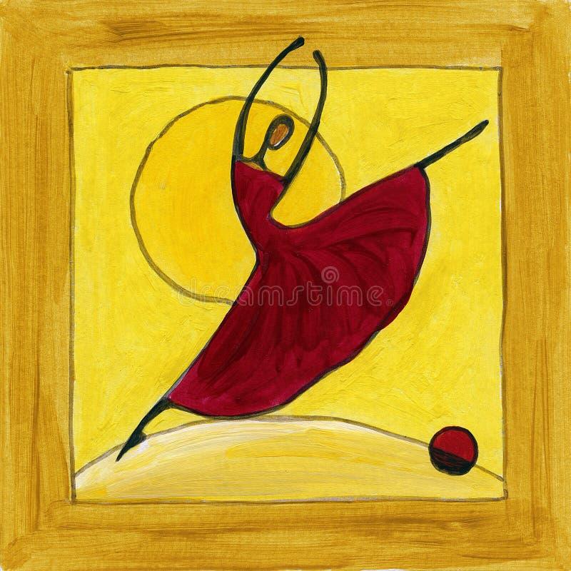 Bailarín de ballet en marco de madera ilustración del vector
