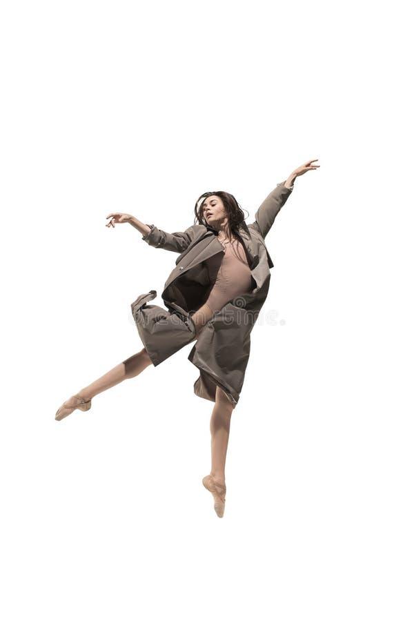 Bailarín de ballet de sexo femenino joven delgado hermoso del estilo contemporáneo del jazz moderno fotos de archivo