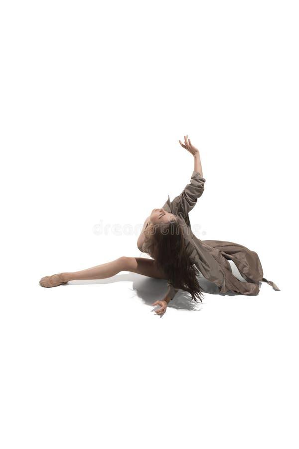 Bailarín de ballet de sexo femenino joven delgado hermoso del estilo contemporáneo del jazz moderno imágenes de archivo libres de regalías